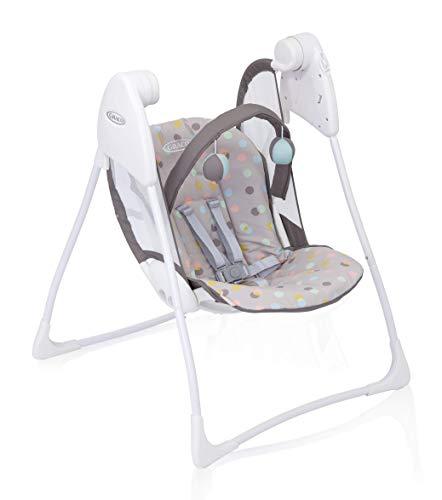 Graco Baby Delight elektrische Babyschaukel, ab Geburt bis 9 kg (ca. 9 Monate), Babywippe elektrisch mit Liegefunktion, Spielbogen, leicht, klappbar, elektrische Schaukel mit Batterie, Confetti Grey