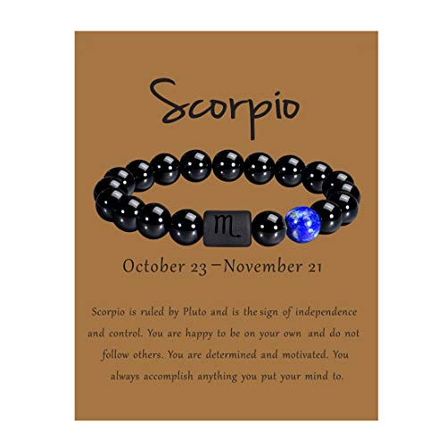 VLINRAS Zodiac Scorpio Bracelet for Men Women Scorpio Gifts Natural Black Onyx Stone Zodiac Bracelet Jewelry Slightly Larger Size