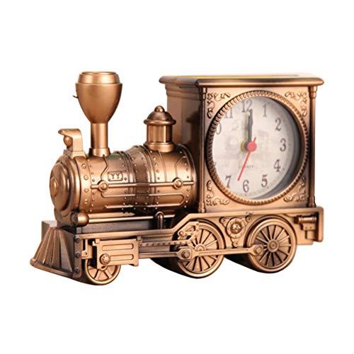 VOSAREA Reloj de mesa con diseño de tren retro, vintage, motorizado, despertador, decoración creativa de escritorio (bronce)