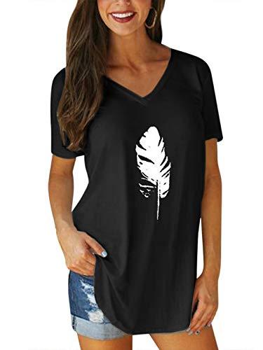 VONDA Oberteile Damen Sommer T-Shirt Casual Locker V-Ausschnitt Blattmuster Basic Shirt Kurzarm Tops Elegant Bluse 1A-Schwarz XXL