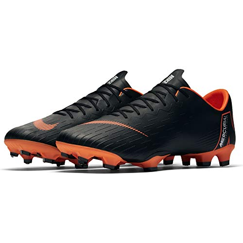 Nike Men's Mercurial Vapor XII PRO FG Cleats - (Black/White/Orange) (9.5)