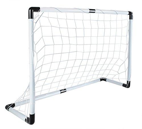 ISO TRADE Fußballtor Set 116x79cm Groß Ball Handpumpe Leicht Starkes Netz Einfache Montage 5617