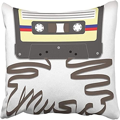 Funda de Almohada de 18x18 Pulgadas, Cinta de Casete Mixtape de poliéster con tirada para deletrear música, Cassette Funk, Reproductor de Radio, imágenes prediseñadas