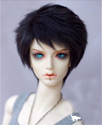 Tita-Doremi Ball-jointed Doll BJD Perücke Puppen Haarteil Für 1/4 7-8 inch Mini Dollfie SD10 MDD MSD Volks AOD Minifee DOD LUTS DZ Doll Black Wig Hair 1/4 7-8 inch 18-19cm (Perücke Nur,Keine Puppe )