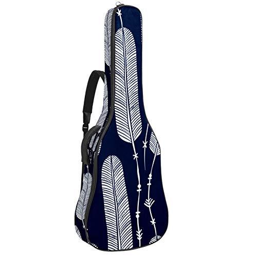 Bolsa de guitarra de 42 pulgadas, impermeable, correa de hombro ajustable, funda para guitarra acústica, bolsa de concierto, mochila acolchada con bolsillo azul marino, hoja Boho Bohemia