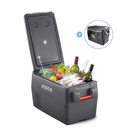 ICECO JP30 Portable Refrigerator, 12V Car Fridge Freezer, 31 Liters Compact Refrigerator with Secop Compressor, for Car… 4 ※ 【FREE PARTS】- Insulated Protective Cover & 12 Feet-Long Extend DC Power Cable. ※ 【MAX & ECO MODE】- This function allows the compressor speed to be slowed down to increase operational efficiencies(ECO) or increase the compressor speed to provide ''quick'' cooldown times(MAX). ※ 【NO ICE NEEDED】- Adjustable Temperature From -7℉~50℉(-22℃~+10℃). How Danfoss compressor works: for the purpose of saving energy, the compressor will stop operating when the freezer up to the set temperature and the compressor will restart to operating when the temperature in the box has risen 6℉-9℉.