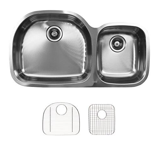 Ukinox D537.60.40.8L.G Modern Undermount Double Bowl Stainless Steel Kitchen Sink with Bottom Grids