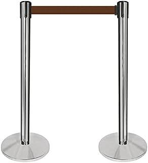 2 wide red post QPLUS-21-N7 10 length Brown belt QueueWay PLUS Set of 2