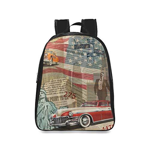 Moda Retro Piel de Oveja News Newspaper Travel Bag For College Girl Fashion Bags Girl Fashion Bags Print Zipper Estudiantes Unisex Adultos Adolescentes Regalo