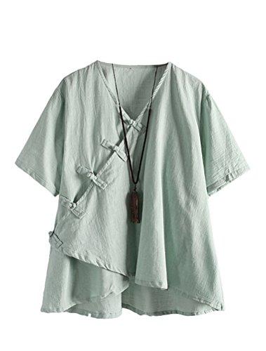 MatchLife Damen Leinen Tops Klassisches Vintage T-Shirt Chinesisch V-Ausschnitt Tunika Bluse Grün Fits EU 38-46