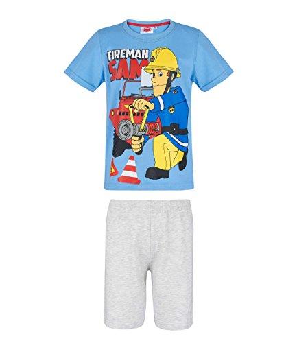 Feuerwehrmann Sam Shorty Pyjama, blau-grau, Gr. 98-128 Größe 128