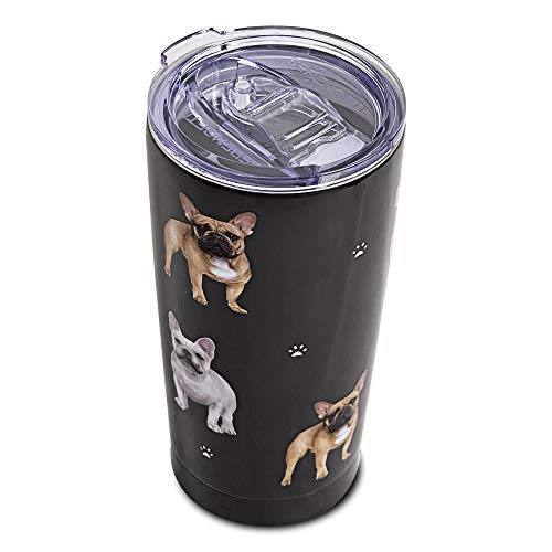 French Bulldog SERENGETI 16 Oz. Stainless Steel, Vacuum Insulated Tumbler with Spill Proof Lid - 3D Print - Insulated Travel mug for Hot or Cold Drinks (French Bulldog Tumbler)