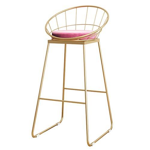 Taburetes modernos Silla con respaldo y reposapiés para cocina pub bar Taburetes altos, Terciopelo Tapizado, Patas de metal dorado, Altura del asiento 65 cm - Verde/azul/rosa