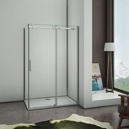 AICA cabine de douche 120x80x195cm en 8mm verre anticalcaire,porte de douche coulissante et paroi latérale