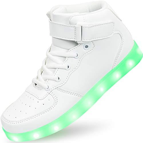 APTESOL Kinder LED Schuhe High-Top Licht Blinkt Sneaker USB Aufladen Shoes für Jungen und Mädchen [Weiß,35]