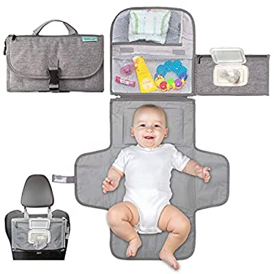 Portable Diaper Changing Pad, Portable Changing pad for Newborn boy & Girl- Baby Changing Pad with Smart Wipes Pocket – Waterproof Travel Changing Station kit - Baby Gift by Kopi Baby by Kopi Baby