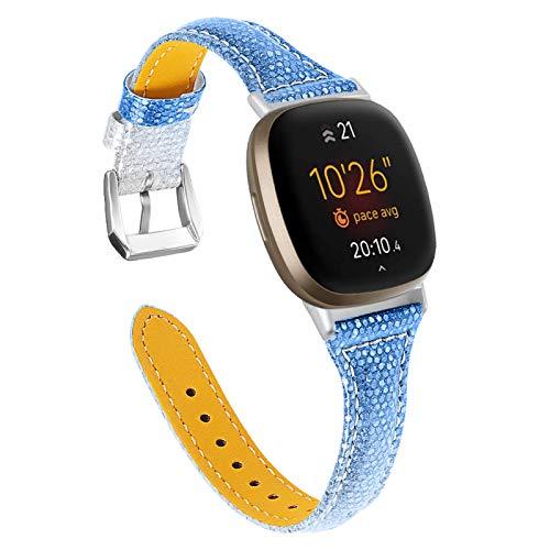 BFISOD Armband für Versa 3, Echtes Leder Frauen Männer Schlankes Armband Uhrenarmband Ersatz Fitness Band Armband Kompatibel für Fitbit Versa 3 / Versa Sense (A04)