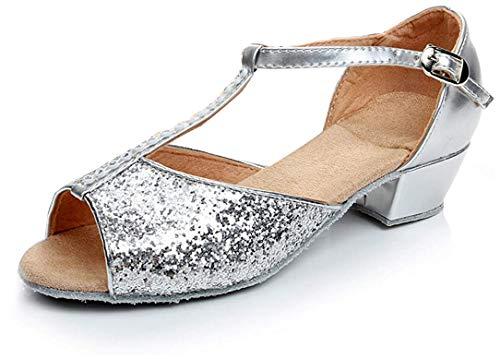 APTRO Mädchen Tanzschuhe für Latein Salsa Ballsaal Dance Schuhe Silber 24