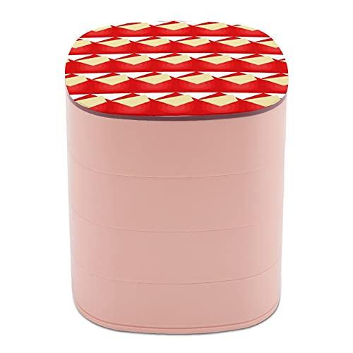 Rotar la caja de joyería letras impresas hechas a mano rojo Origami Multi-capa diseño joyería organizador caja con espejo para mujeres niñas y niños