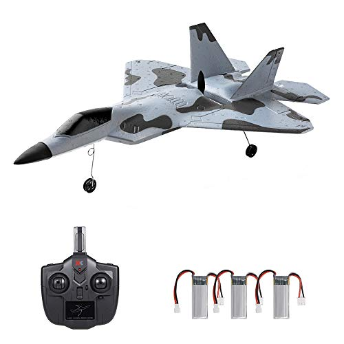 GoolRC WLtoys XKS A180 RC Airplane, 2.4Ghz 2 Channel Remote Control Plane with 6 Axis Gyro System, Adjustable Rudder, Brushless Motor and 3 Batteries, Easy to Fly RTF Foam RC Aircraft for Adults