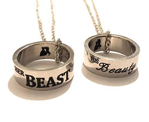 giulyscreations Juego de 2 collares con anillos de la Bella y la Bestia, de metal, sin níquel, con grabado exterior e interior