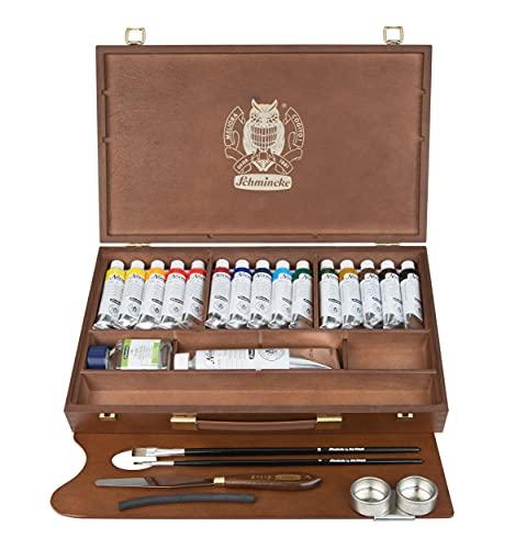 Schmincke - Norma feinste Ölfarben Premium Holzkasten, 15 x 35 ml Set Ölmalerei, 71 115 097, Zubehör: Weiß 120 ml, Terpin, Palettmesser, 2 Davinci Pinsel, Zeichenkohle, 2 Palettstecker