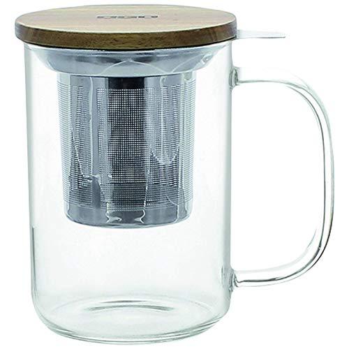 Ogo Living Ogo-Mug Kanne mit Teesieb und Deckel aus Bambus, durchsichtig, 500 ml