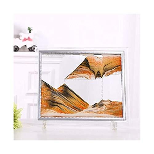 Jszzz Orange 3D Dynamische Fließende Sand-Malerei, Abstrakt bewegen Sand Landschaft Glas Photo...