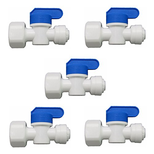 1/4-Inch OD Tube Ball Valve Quick Connect Fitting 1/2-Inch Female RO Water System Pack of 5