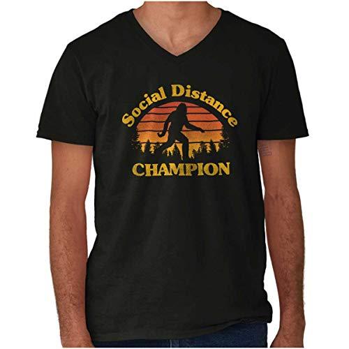Bigfoot Social Distancing Champ Funny Quarantine V Neck T Shirt Black