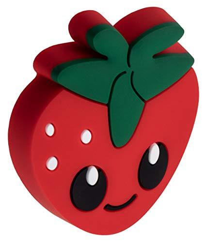 Gedotec Gummi-Griff Kinder-Möbelknopf Motiv Möbelgriff Kinderzimmer - Erdbeere | Türknopf Gummi Speichelecht | Schubladen-Knopf elastisch | Türgriff Schranktür | 1 Stück - Kindergriff für Möbel