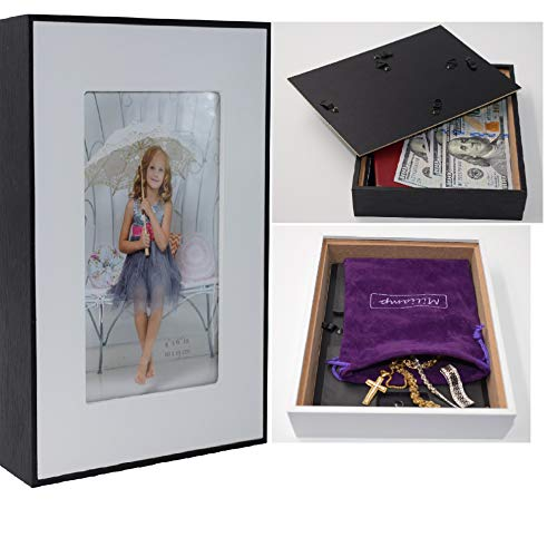 Diversion Safe - Stash Cans – Picture Frame Can Safes, Secret Compartment for Money, Jewelry or Herbs, Hiding Containers- Safe Secret, Stash it to Hide valuables. Free Pouch (Black & White, 4x6)