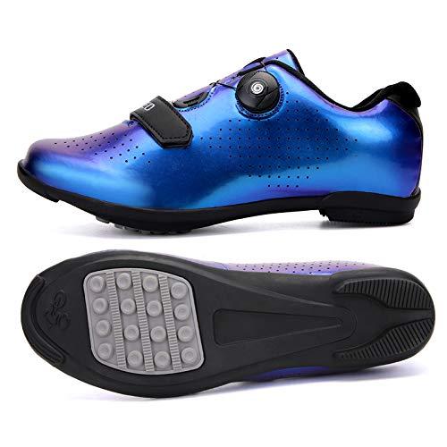 JINFAN Calzado De Ciclismo Calzado De Bicicleta De Montaña para Adultos Calzado De Ciclismo MTB Atlético Transpirable,Blue-44EU=(270mm)