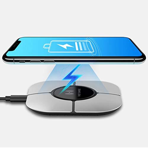 LIDIWEE Qi Wireless Ladegerät, 10W Induktionsladegeräte für schnelles Laden Wireless-Ladekissen für iPhone XS/XR/XS Max / 8 Plus, Galaxy S9 / S8 und alle Qi-fähigen Geräte (Silber)