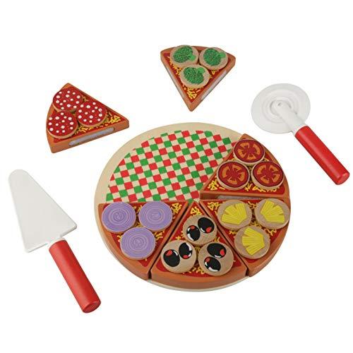 Zerodis Far Finta di Giocare Set di Cibo, Giocattoli da Taglio per Pizza Simulati, Giochi di Ruolo sicuri Giocattoli in Legno per Bambini Bambini Che imparano e Regalo educativo