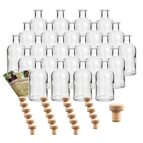 gouveo 24er Set Flasche Apotheker 100 ml inkl. Holzgriffkorken, Likörflasche, Schnapsflasche