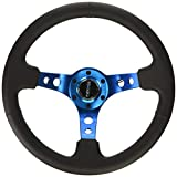 NRG Innovations RST-006BL Reinforced Steering Wheel (350mm Sport Steering Wheel (3' Deep) - Blue Spokewith Round holes/Black Leather)