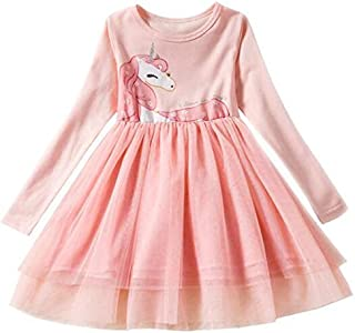 Girls Dress Long Sleeve Kids Flower Dresses Children Unicorn Girls Dresses Autumn Kids Dress For Girl