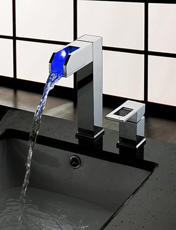 FAYM-3-Loch-Armatur Einzigen Handgriff Zwei Lcher in Chrom Waschbecken Wasserhahn