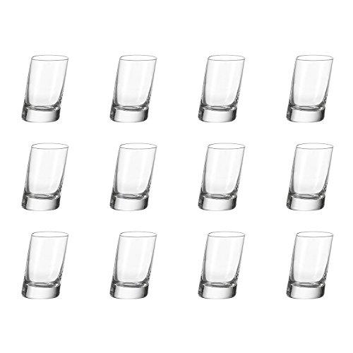 Leonardo Pisa Schnaps-Gläser, 12er Set, spülmaschinengeeignete Shot-Gläser, Schnaps-Becher aus Glas, Stamper, Gläser-Set, 12 Stück, 55 ml, 063068