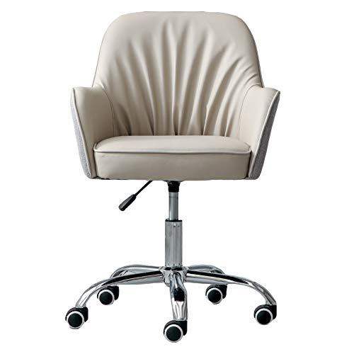 ZWQASP Silla giratoria, sillas de Escritorio de Espalda ergonómica en casa con Pierna de Acero, cómodas de elevación, sillas de recepción tapizadas, para Estudio de Dormitorio