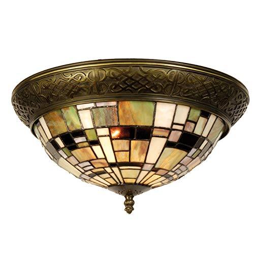 Lumilamp 5LL-5348 Deckenlampe Deckenleuchte Art Deco Grün im Tiffany Stil Ø 38 * 19 cm 2X E14 max 40w dekoratives buntglas Tiffany Stil handgefertigt glasschirm