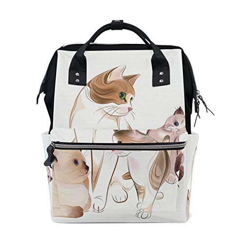 Diaper Bag Multi Functional Stylish Cat Kitten Large Capacity Nappy Bags for Baby Care Mummy Backpack Durable Travel Backpack