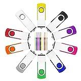 10 unidades de memoria USB de 16 GB, memoria USB 2.0 de Fesaymi, multicolor, rotación de 360°, memoria de alta velocidad, con cordón