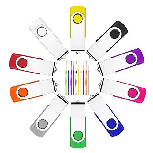 10 Stück 32GB USB Stick ,Fesaymi 2.0 USB-Flash-Laufwerk Mehrfarbig Speicherstick 360 ° Drehun Hi-Speed Memory Stick Mit Schlüsselband (32GB, 10PCS)