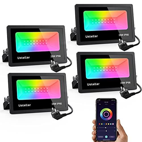 Ustellar Faretto LED Intelligente RGB 25W 4 Pezzi, Controllato APP Proiettore Faro Multicolore Esterno Dimmerabile 16 Milioni di Colori IP66 Impermeabile per Giardino, Palcoscenico, Festa
