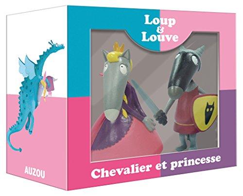 Le loup qui voyageait dans le temps - Coffret 2 figurines seules (loup chevalier et louve princesse)