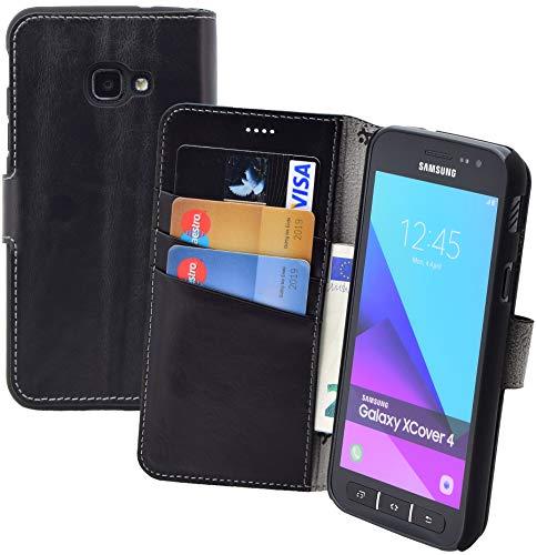 Suncase Book-Style Tasche kompatibel Samsung Galaxy Xcover 4s Ledertasche Leder Schutzhülle Hülle Hülle (mit Standfunktion & Kartenfach) schwarz