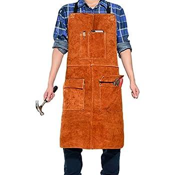 piel de vaca de trabajo antillama Delantal para soldar de piel delantal de trabajo con mangas y bolsillos para herramientas