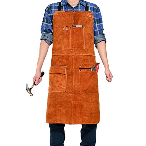 """LEASEEK Leather Welding Work Apron - Heat Resistant & Flame Resistant Bib Apron, Flame Retardant Heavy Duty BBQ Apron, Adjustable One Size Fit Most - 24"""" X 36"""",Brown (Brown)"""